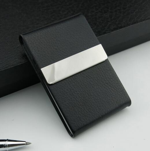 Stylish Leather PU Pocket Business Card Holder Promotional Stainless Steel Card Holder With Custom Logo