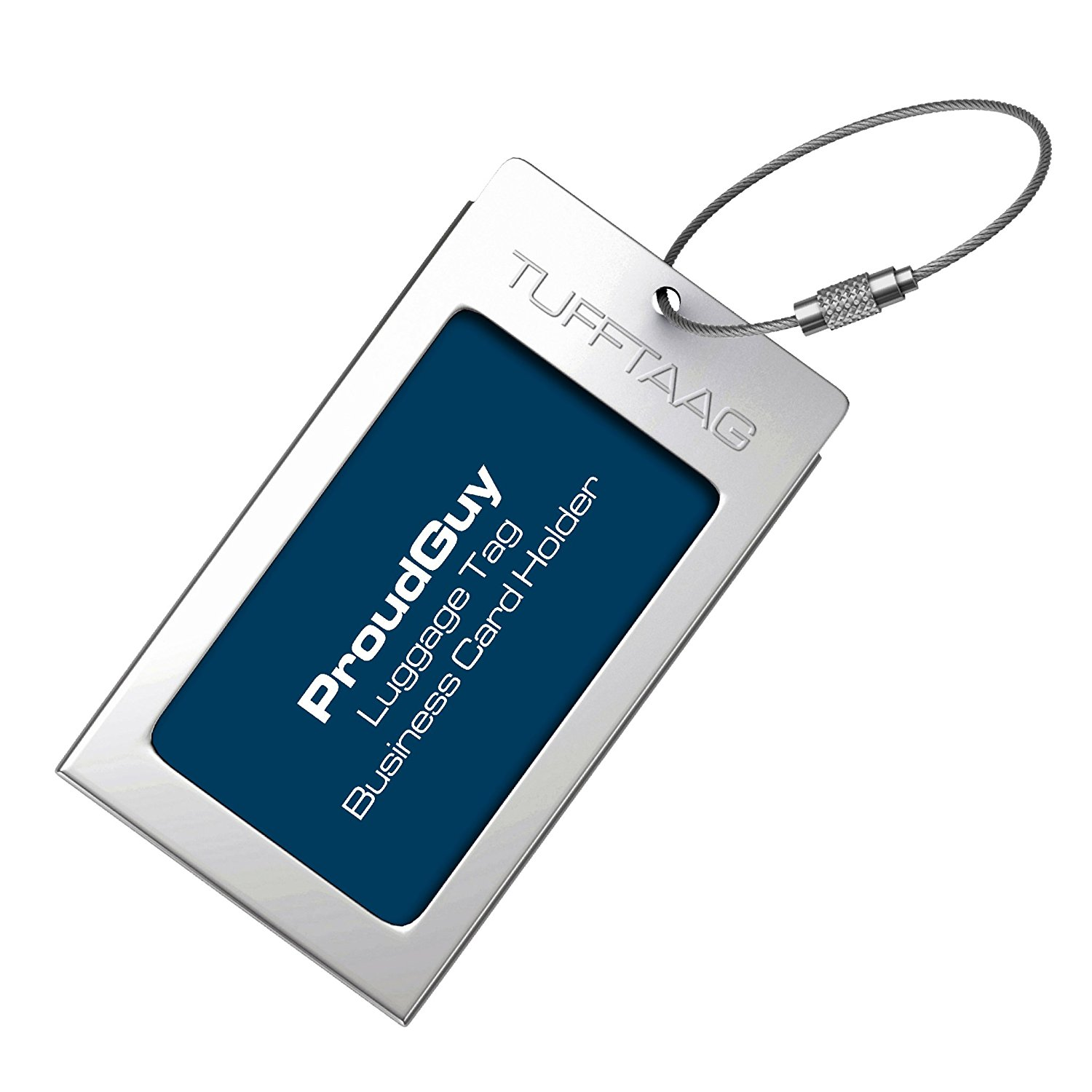 Buy Luggage Tags Business Card Holder TUFFTAAG by ProudGuy in Silver ...