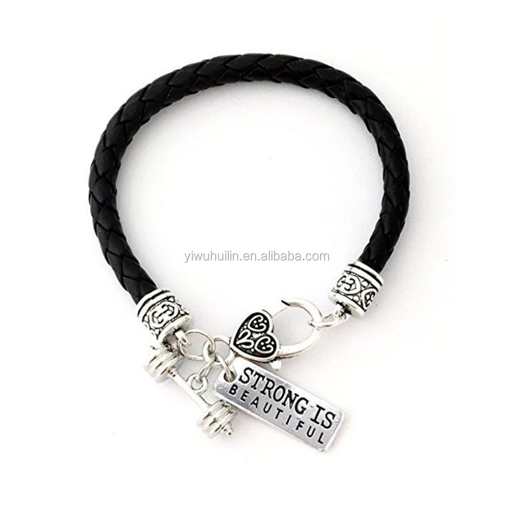 STRONG IS BEAUTIFUL Dumbbell Black Leather Braided Cross Fit Fitness Barbell Charm Bracelet, Antique silver