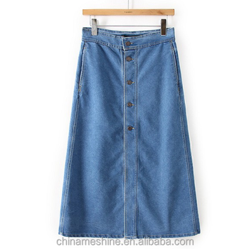 MS70754L Newly Designed Fashion Jean Skirt Women Denim Wholesale Long
