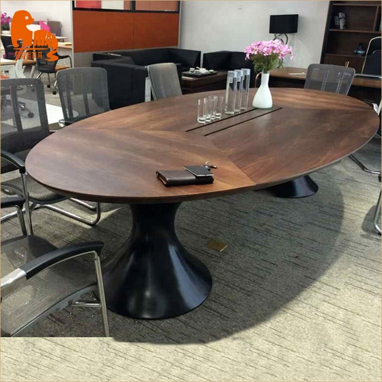 wooden oval shape conference table meeting room table