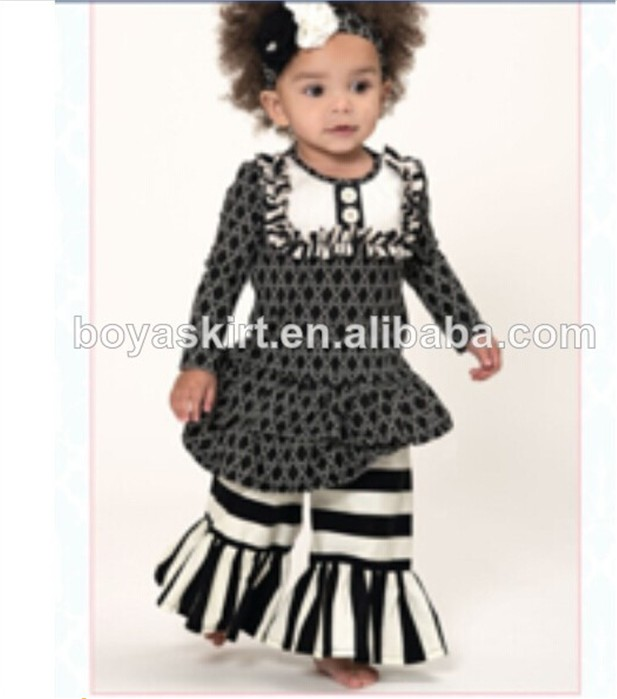 cheap baby clothing two piece long sleeve ruffle outfits black and white  ruffle pants bulk wholesale 2213b21803