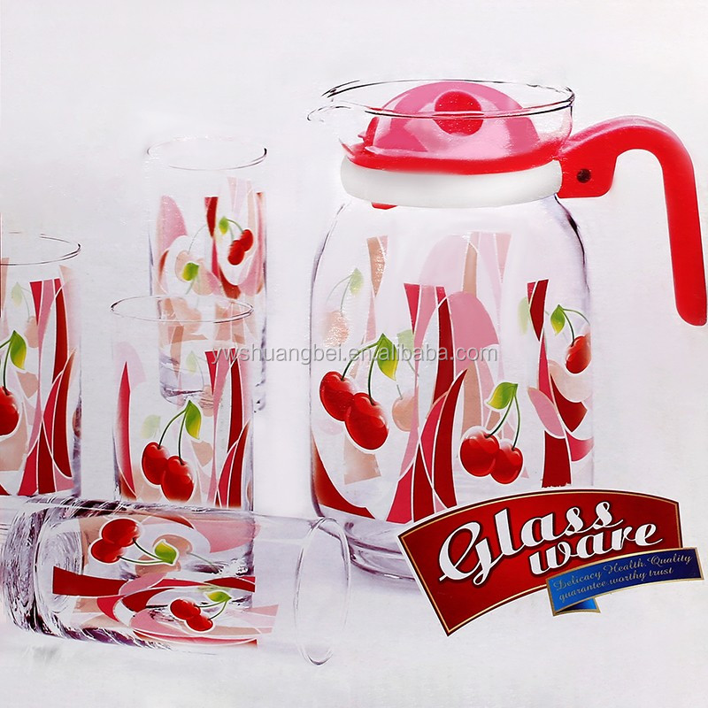 2016 beautiful red flower printing 7PC 1.5L glass water jug and glass water cup set