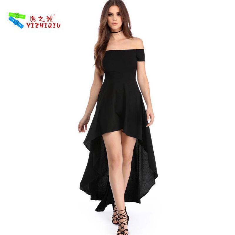 YIZHIQIU Off Shoulder High Waist Black Dress Evening