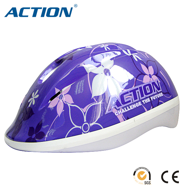 Senhai Kids Helmet flower design purple upper shell Bike helmet child bicycle helmet