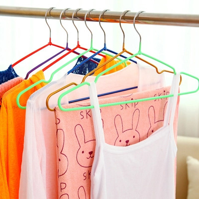 Colorful Heavy Duty Dry PVC Coated Metal Hang Ease Hanger With Non Slip  Hanger Grip