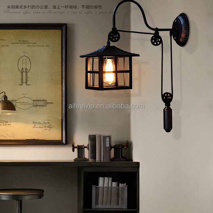 Retro up and down adjustable led wall light with pull cord for hotel wall mounted bedside lamp