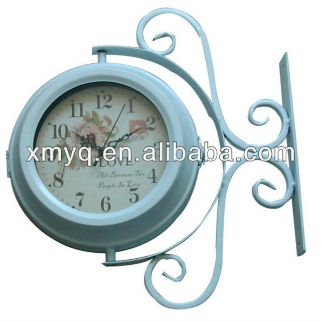 metal waterproof doublesided metal wall clock industrial style