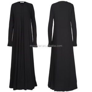Fashionable stylish dubai modest fit simple black abaya women plain black abayas