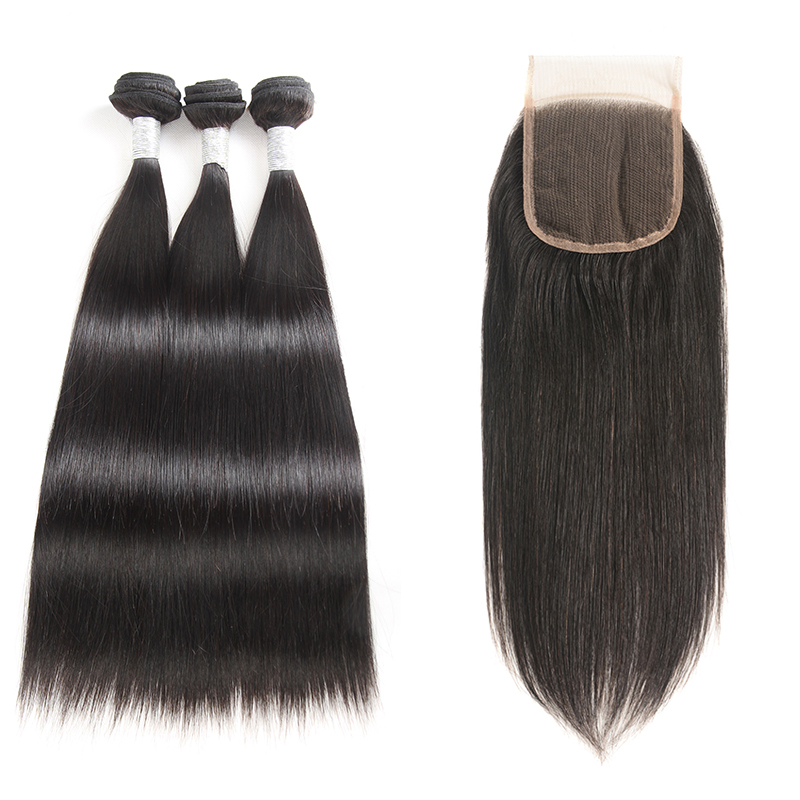 7A Peruvian Virgin Hair Lace Closure Silky Straight Human Hair 3 Bundles With Lace Closure Fee Shipping фото