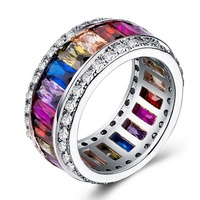 Wholesale 8 Colors Peridot Red Silver Purple Silver Multi Color Ring Women Jewelry Classic Fashion Design Zircon Ring