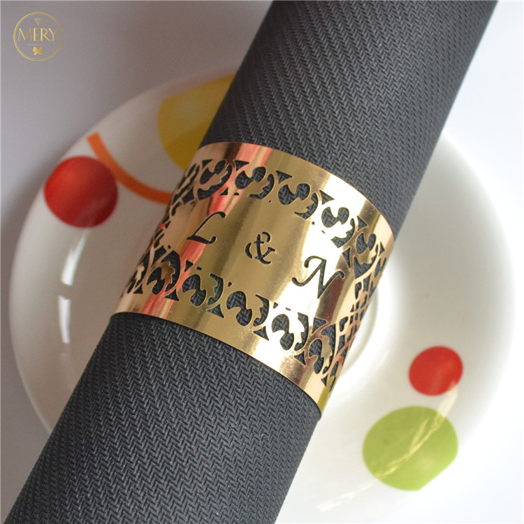Laser cut paper table towel ring for weddings, Gold;silver;blue;red;hot pink;green;etc.