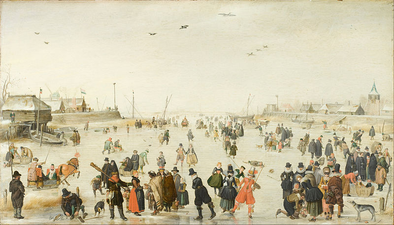 Canvas Art Prints Fabric Wall Decor Giclee Oil Painting Hendrick Avercamp - Winter Scene On A Frozen Canal