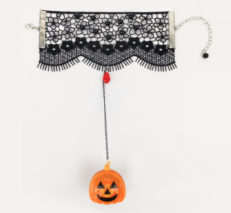 Halloween pumpkin will shine lace mesh bracelet with ring party jewelry