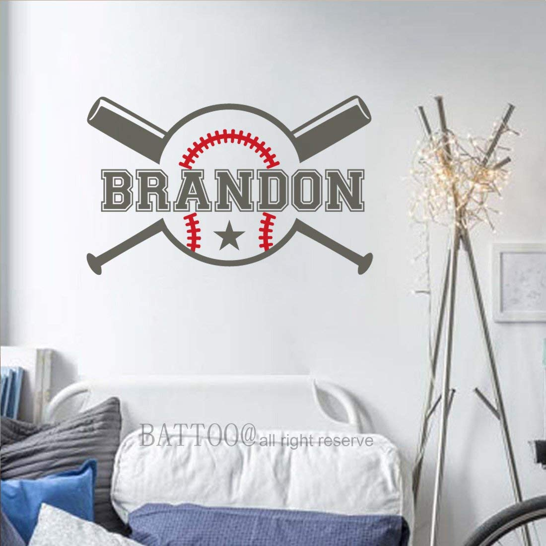 "BATTOO Baseball Wall Decal Personalized Boys Name Wall Decal Playroom Decor Boys Wall Decals Nursery Sports Wall Decal Wall Decals for Bedroom 30"" wide PLUS free hello door decal"