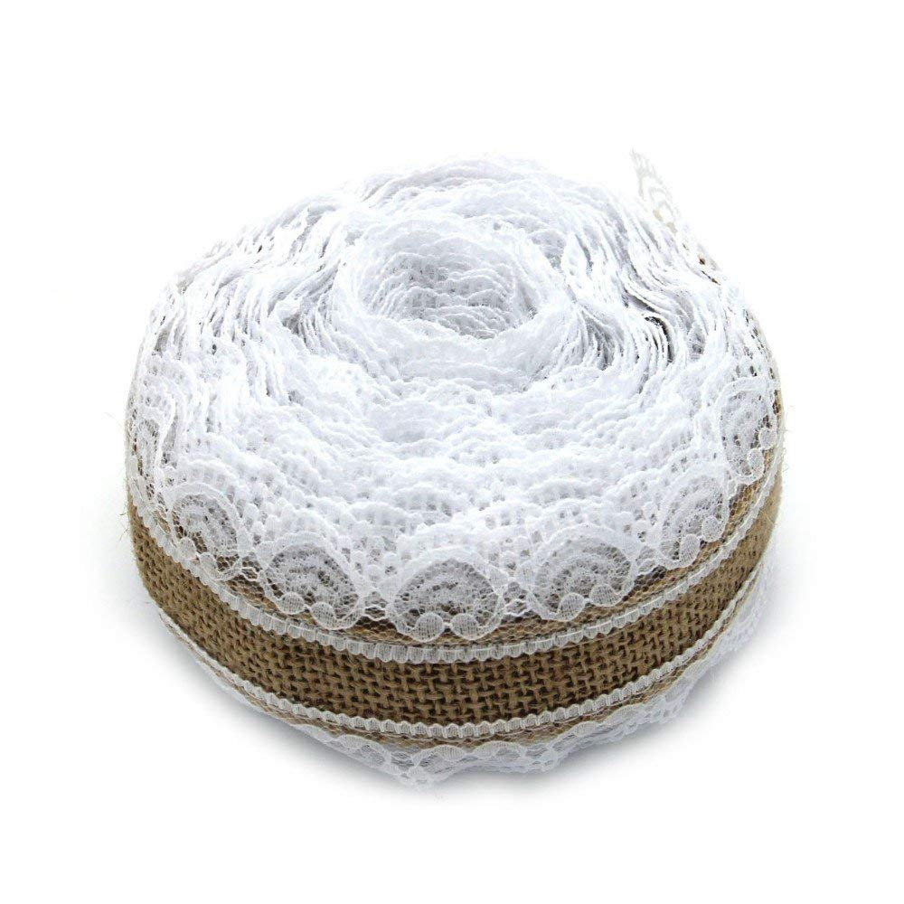 Trim & Embellishments - Burlap Ribbon - Lace Ribbon - 10m Natural Jute Burlap Hessian Lace Ribbon Roll + White Lace Vintage Wedding Decoration Party Christmas Crafts Decorative