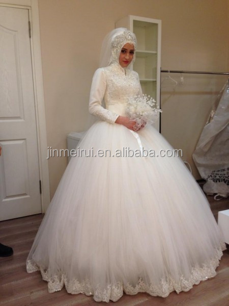 Elegant Ball Gown High Neck Muslim Wedding Dress Long Sleeve Tulle With Hijab Appliques Beaded Festa Vestido de manga comprida