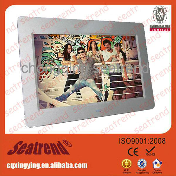 digital photo frame price/Remote control 800*480p 16:9 Support sd card,U-disc,mp3/4 digital photo frame video input
