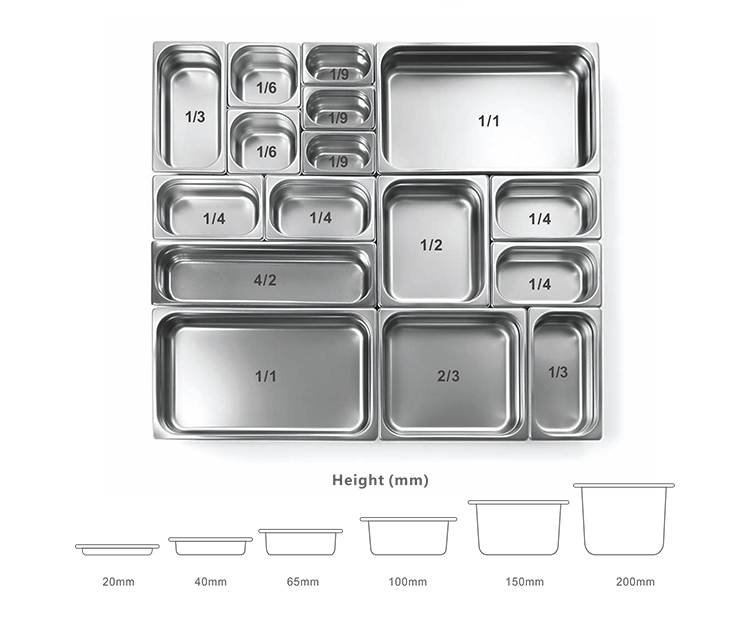 Made In China 201# Stainless Steel GN Pan Cover Gastronorm Containers