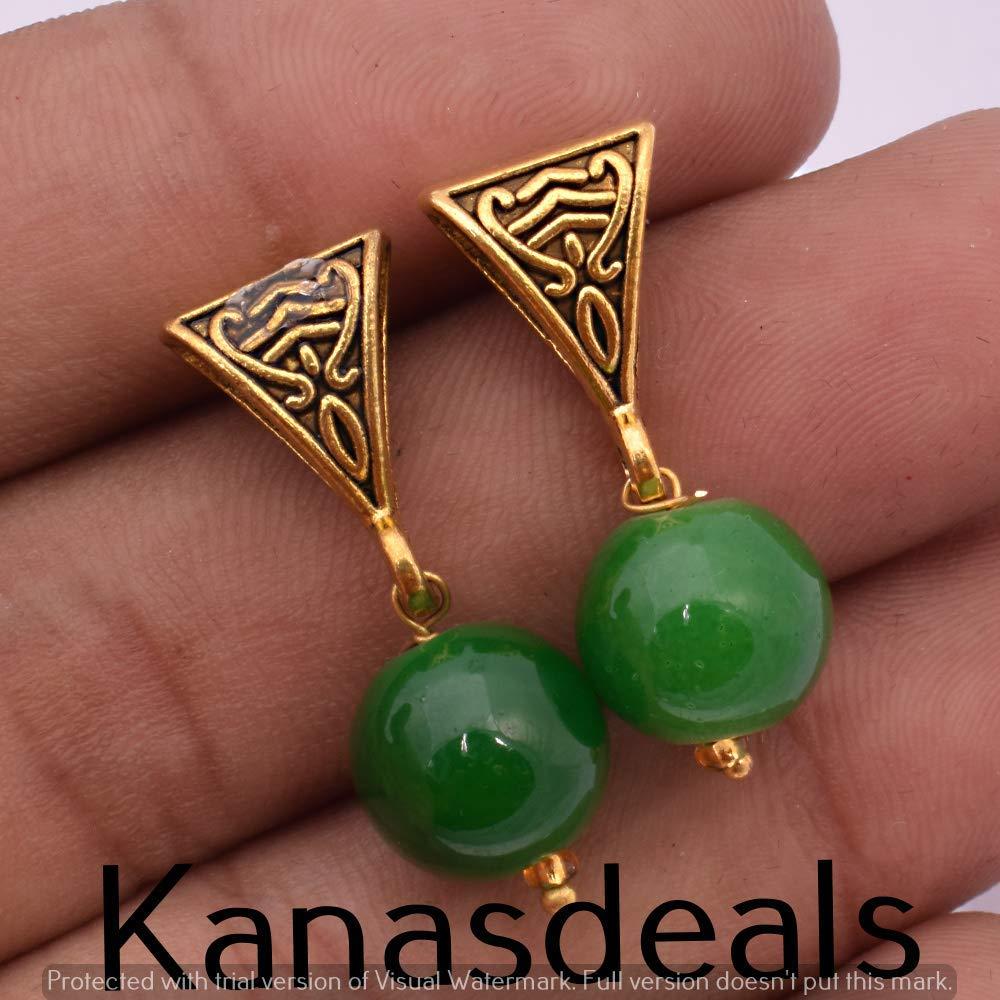 Green Aventurian Gemstone Jewelry Handmade Earring E-254
