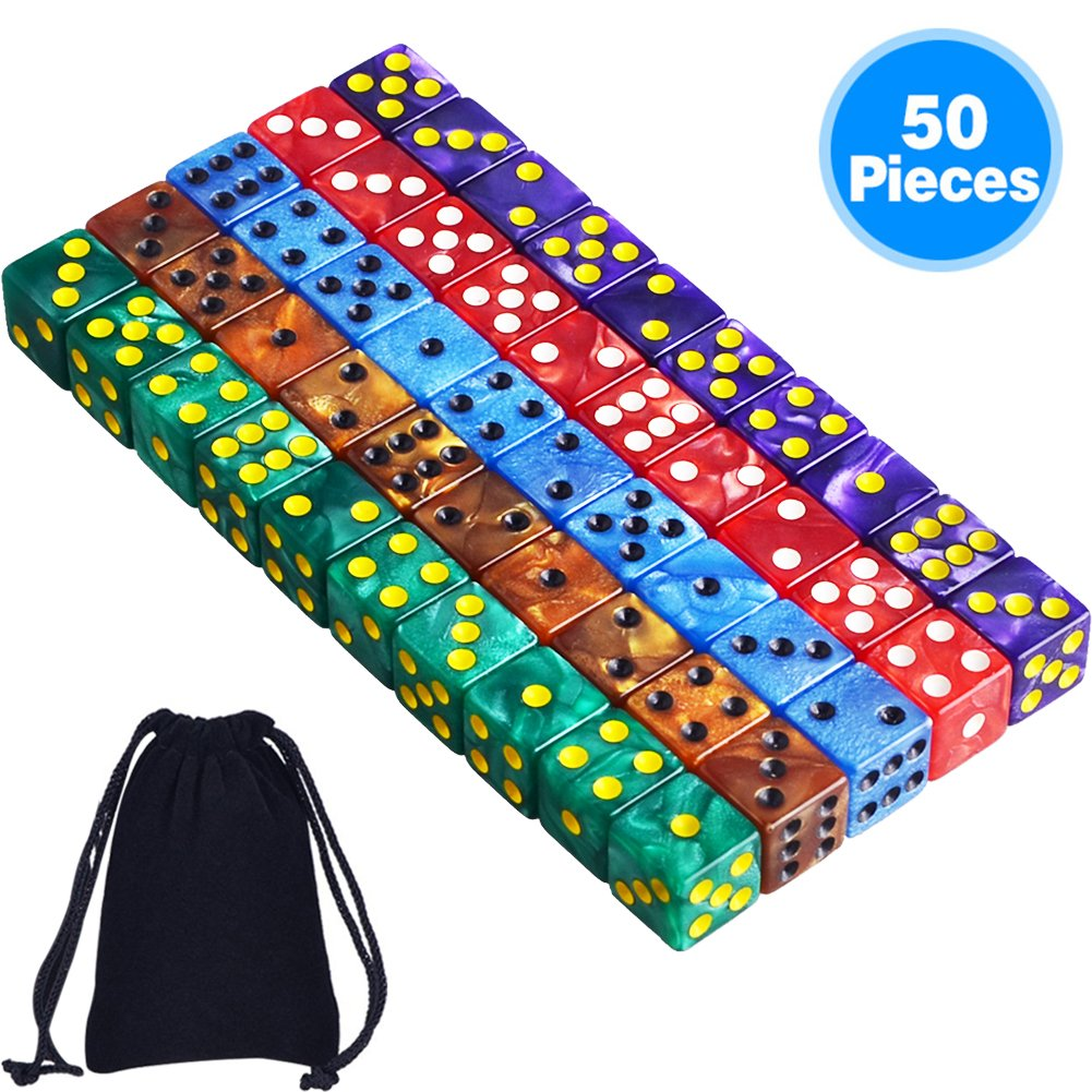 AUSTOR 50 Pieces 6- Sided Dice Set, 5 x 10 Pearl Colors Square Corner Dice with Free Velvet Pouches for Tenzi, Farkle, Yahtzee, Bunco or Teaching Math