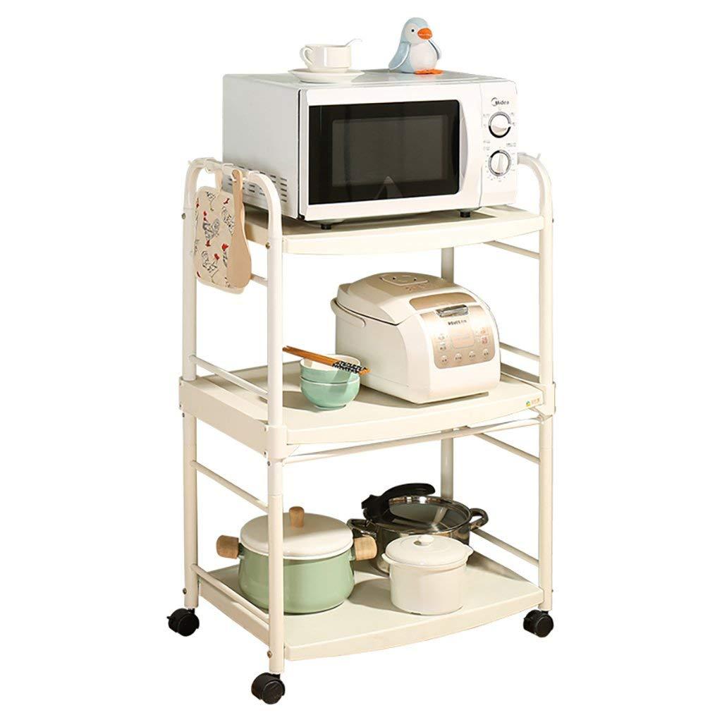 Kitchen storage and organization Kitchen Shelf Floor Microwave oven rack 3-layer oven racks Mobile appliances Storage storage rack (size: 62 39 97CM) Standing shelf units