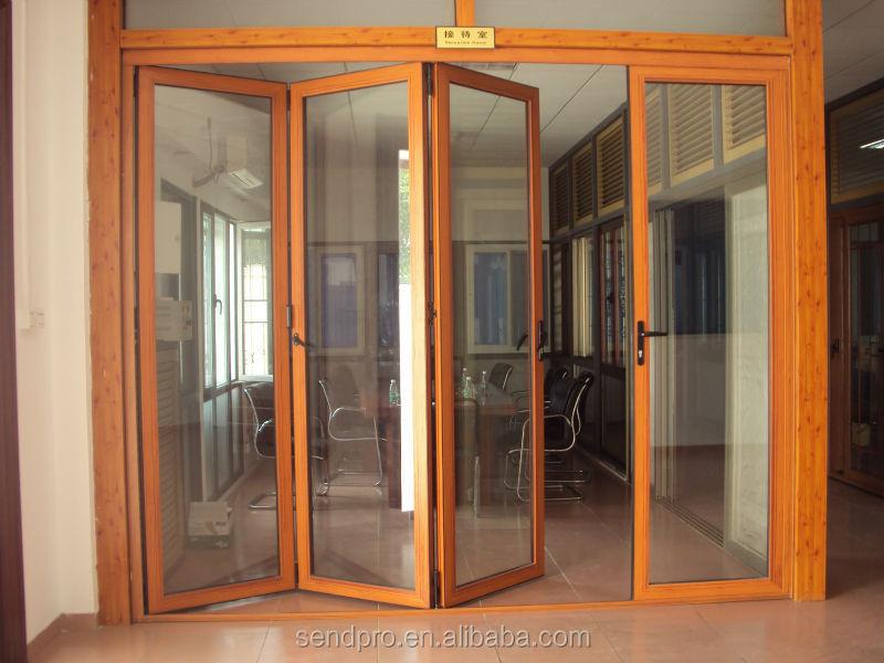 In alluminio di grandi dimensioni e vetro bi porta a - Porta a soffietto prezzo ...