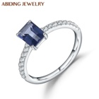 Abiding Simple Iolite Blue Mystic Quartz Wedding Ring Hotsell Round Brilliant Cut CZ Silver 925 Engagement Rings Lady Jewelry
