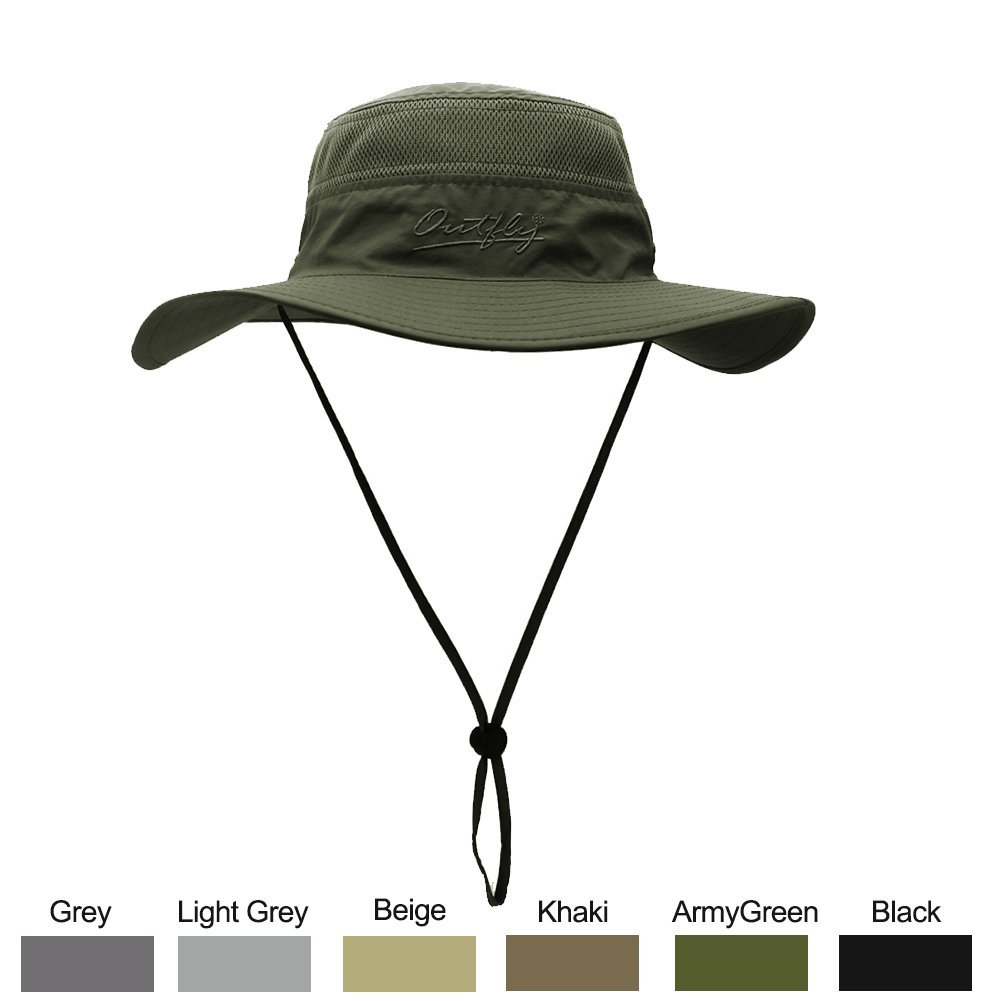 WELKOOM Sun Hat for Men & Women, Wide Brim UPF 50+ UV Protection Beach Cap, Breathable Outdoor Boonie Hats with Adjustable Drawstring Design, Perfect for Hiking, Fishing, Camping, Boating & Safari