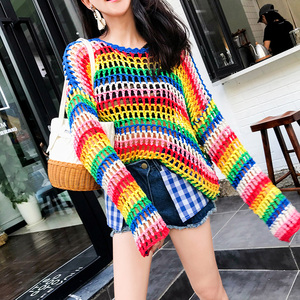 2019 new Colorful Stripe hand knitted Sweater Women
