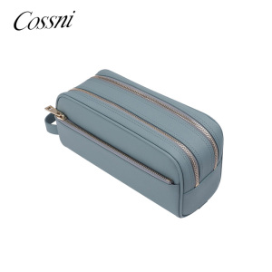 Double zipper pocket mens PU leather wash bag travel toiletry bag tab and handle