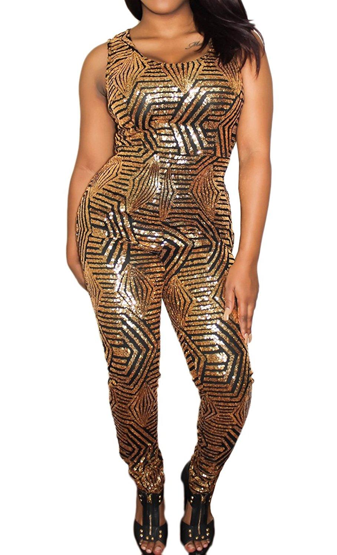 607c180c33 Get Quotations · Womens Sexy Sequin Playsuit Crewneck Sleeveless Slim Leg  Pants Jumpsuits Rompers