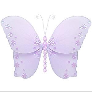 "Hanging Butterfly 10"" Medium Purple Lavender Twinkle Nylon Mesh Butterflies Decorations Decorate Baby Nursery Bedroom, Girls Room Ceiling Wall Decor, Wedding, Birthday Party, Baby Shower, Bathroom"