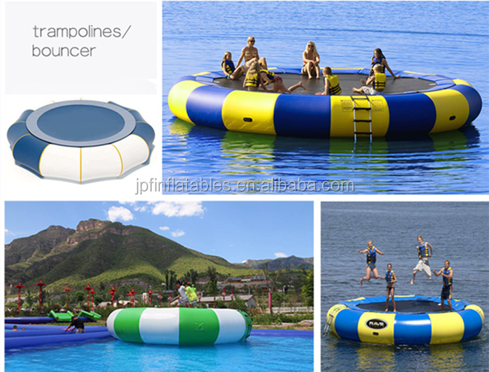 Blue and yellow inflatable water trampoline with spring and steel tubes