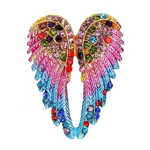 100pcs a lot Multicolor Gold-Tone Women's Austrian Crystal Enamel rhinestone Angel Wings Brooch