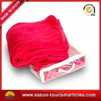 cheap blanket with bag flannel fleece travel blanket cow printed fleece blanket