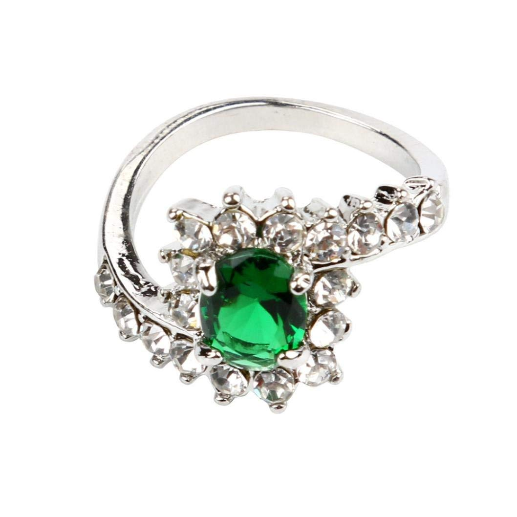 Challyhope Rings, Women's Fashion Exquisite Love Rings Crystal Silver Plated Fake Diamond Wedding Engagement Promise Ring (Green, 10)