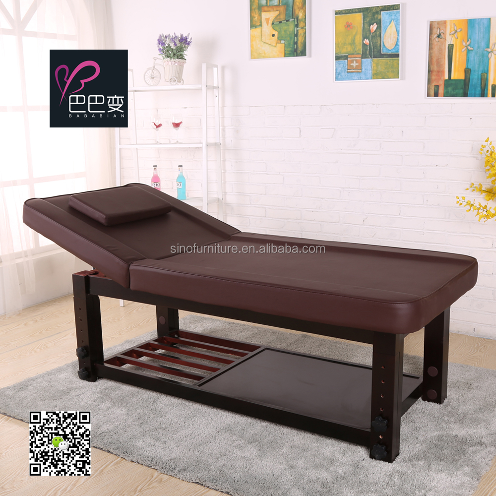Best leg lift coffee wood leather salon spa massage bed table