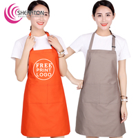 Cheap 100% Cotton free printing logo with pocket kitchen bib apron for promotion Advertisement gift cooking on facrory price