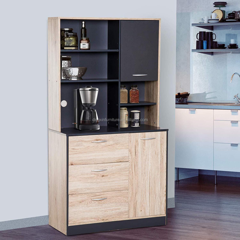 Modern Freestanding Kitchen Buffet Cabinet With Microwave Storage