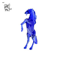 popular resin horse sculpture modern art mosaic animal design fiberglass geometric shape metallic color horse statue FSM-44