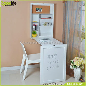 wall mount space saving furniture folding bookcase with small computer desk - Folding Bookcase
