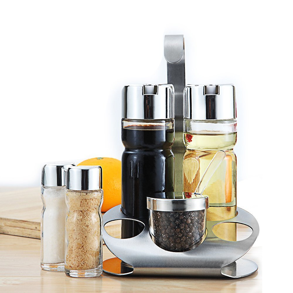 Olive Oil and Vinegar Bottle Set of 5- Glass Cruet Set Includes Small Salt/Pepper Shakers with Stainless Steel Rack , Olive Oil Dispenser Carafe Decanter for Restaurants,Kitchen