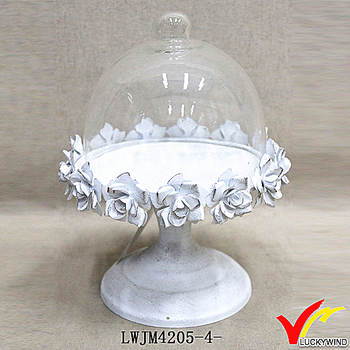 rustic white glass dome metal pedestal cake plate