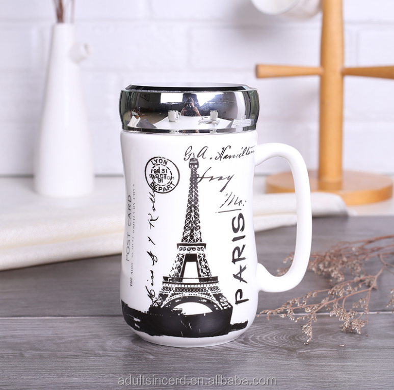 Creative patten home simple business custom logo ceramic coffee cup With stainless steel lid ceramic travel mug
