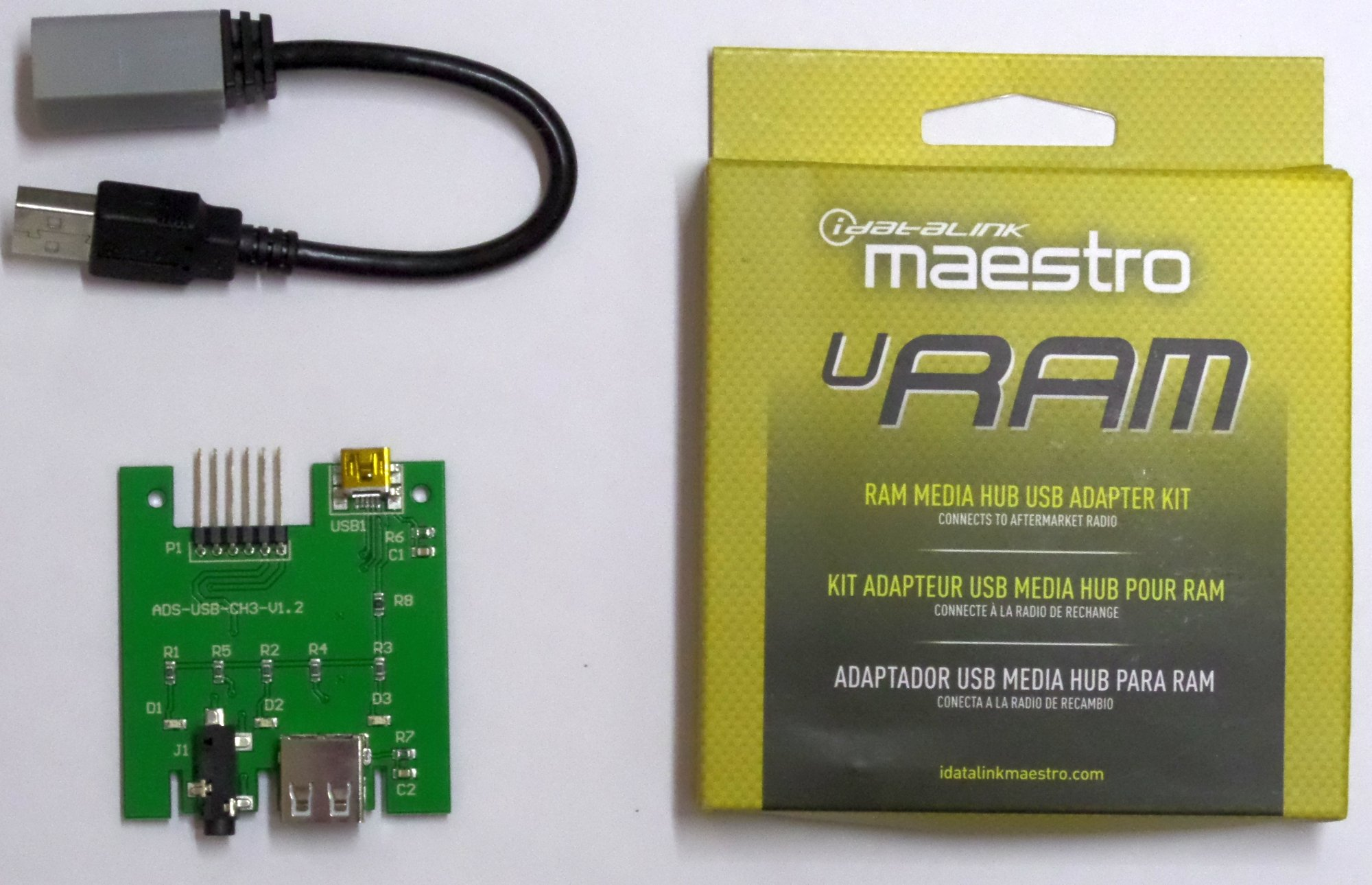 iDataLink Maestro ACC-USB-RAM 2013 -2016 Dodge Ram Media Hub circuit board in the center console of late model RAM trucks so that a single USB port can be connected to an aftermarket radio USB input