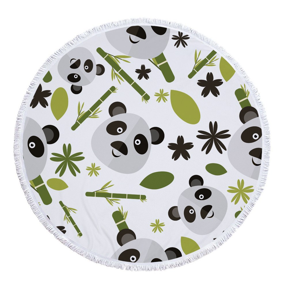 Lovely Cute Panda Round Beach Towel fabric with 100% <strong>Cotton</strong> For Kids