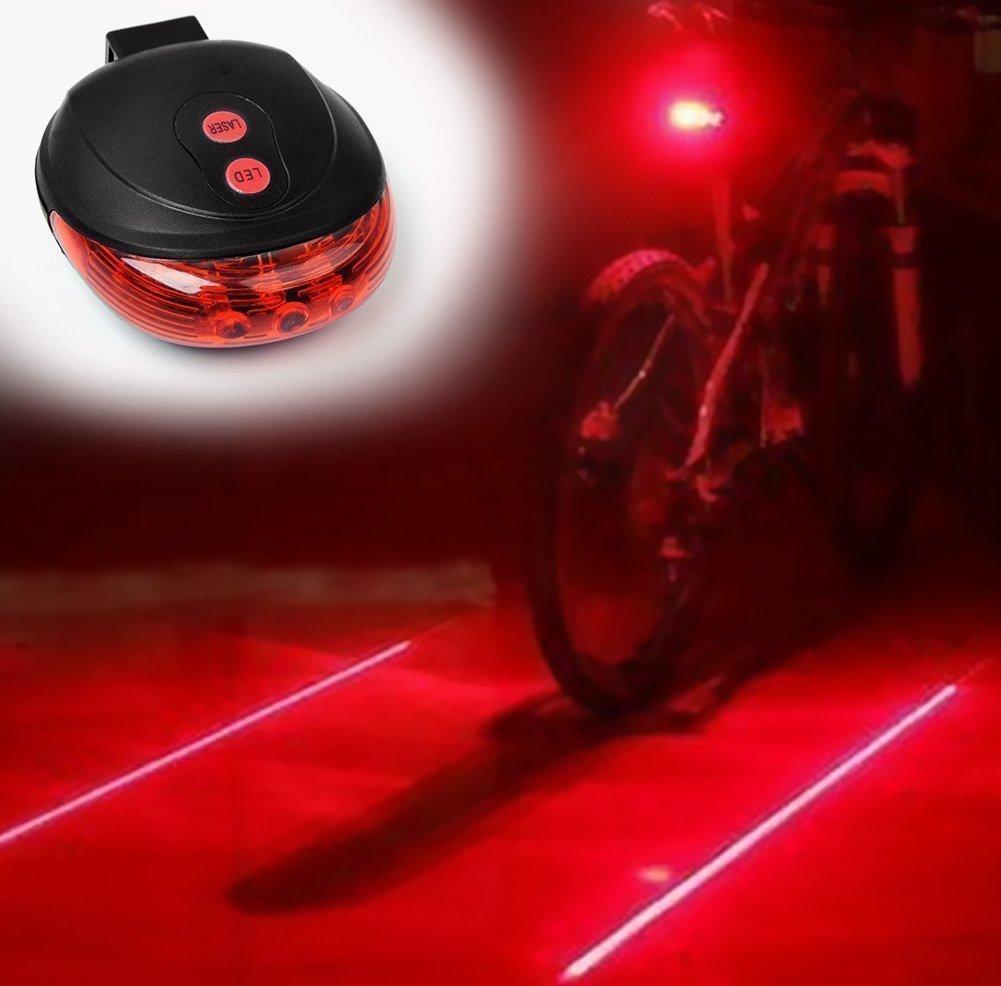 5 LED Rear Cycling Bicycle Bike Tail Safety Warning Flashing Lamp Light 2 Laser