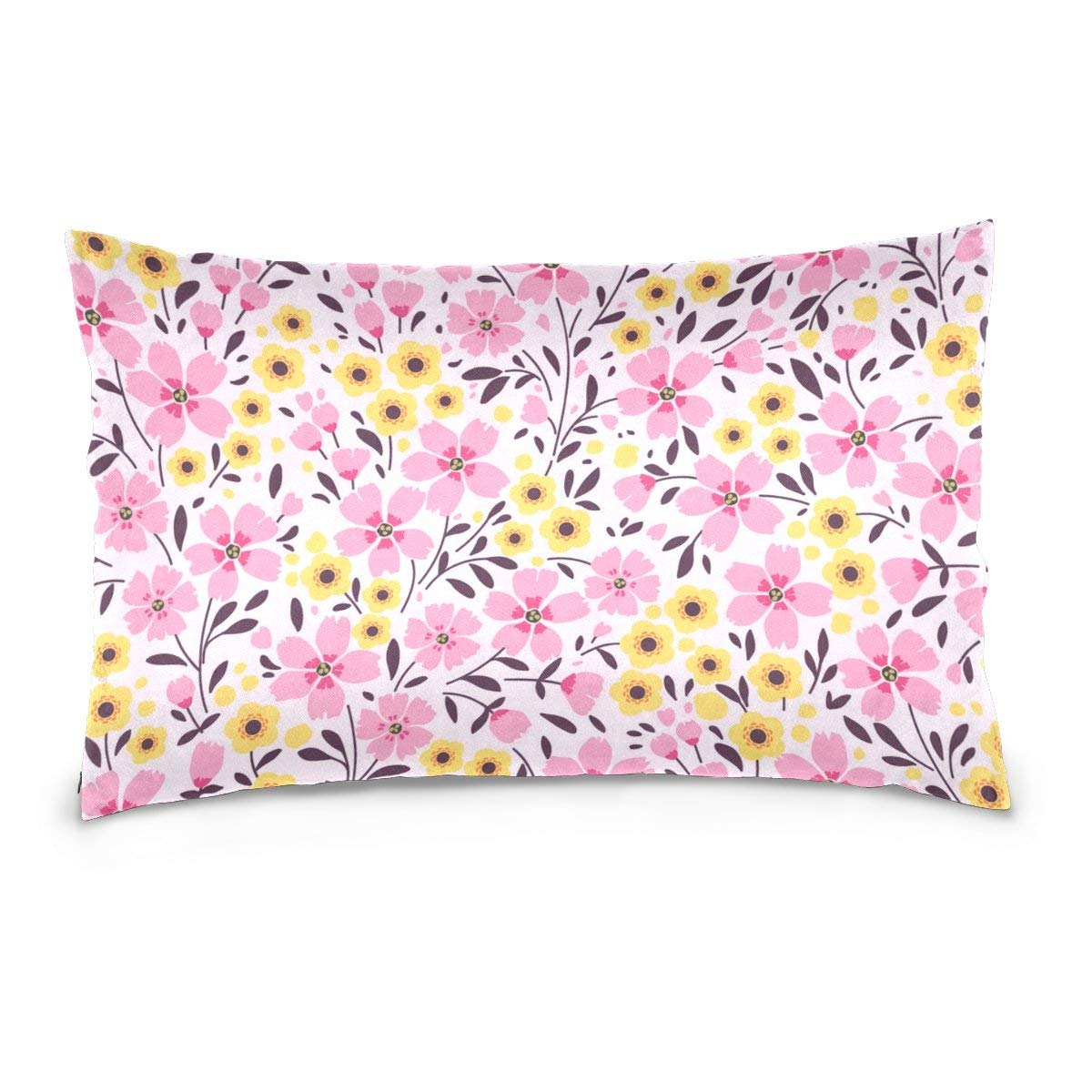 Cotton Velvet Pillowcases Spring Pink Yellow Ditsy Flowers Soft Pillow Protector with Hidden Zipper 20 x 26 Inch