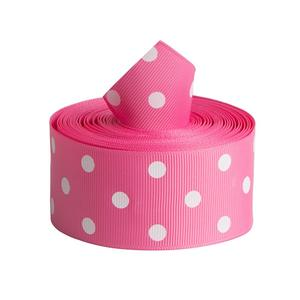Solid Color Polyester Pink Polka Dot Grosgrain Ribbon